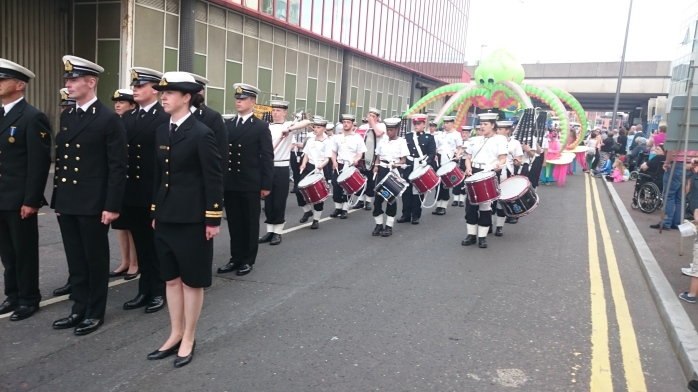Crew from yacht LE Creidne parade through Belfast ahead of UK Sea Cadets (and a giant octopus!)  Photo:  © Michael Fisher