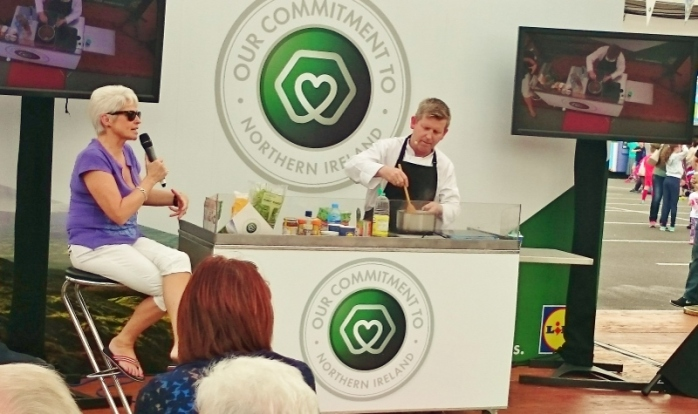 Pamela Ballantine introducing cookery demonstrations in the Lidl arena Photo:  © Michael Fisher