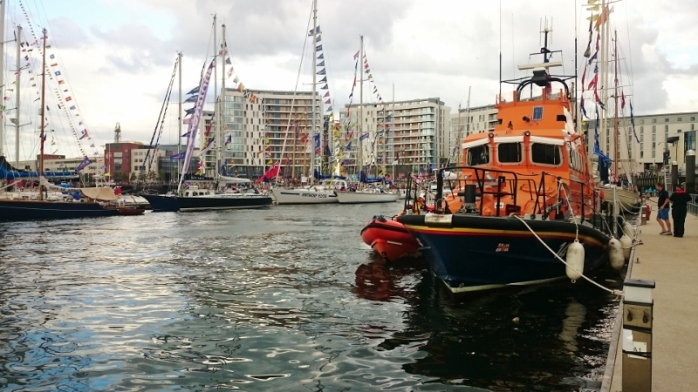 RNLI lifeboat moored at Belfast Marina for the duration of the festival. LE Creidne in background. Photo:  © Michael Fisher
