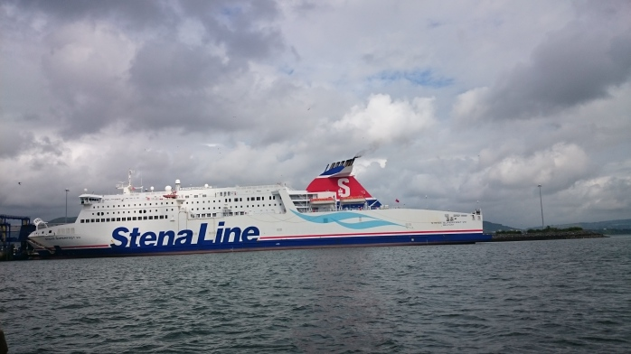 Passing the Stena Line ferry ready for departure from Belfast to Cairnryan Photo:  © Michael Fisher