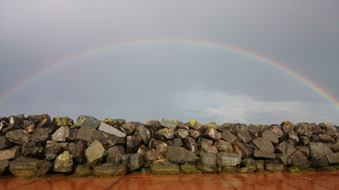 Ballycastle Harbour with rainbow    Photo:  © Michael Fisher