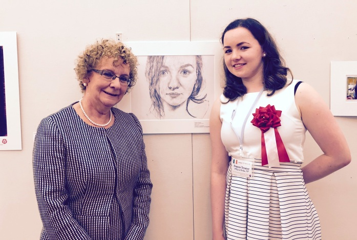 Ireland's Ambassador to Japan Anne Barrington (left) with Frances Treanor at the exhibition of her self-portrait in Tokyo