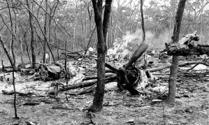 The wreckage of Dag Hammarskjöld's aircraft at Ndola on 19th September 1961. Photo: AP